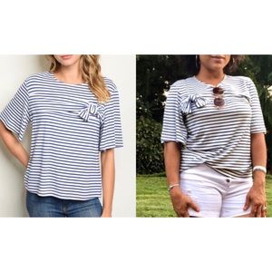 White + blue short sleeve striped tunic top
